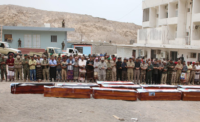 Yemen's southern separatists pray during a funeral for Brigadier General Muneer al-Yafee and his comrades killed in a Houthi missile attack, in Aden