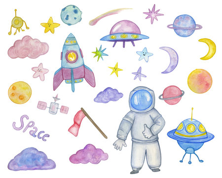 watercolor set of space objects. Astronaut, rockets, planets, stars, clouds,moons. Design for kids.