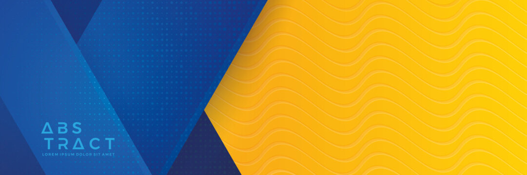 Blue background with orange and yellow color composition in abstract. Abstract backgrounds with a combination of lines and circle dots can be used for your ad banners, Sale banner template, and More.