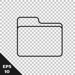 Black line Document folder icon isolated on transparent background. Accounting binder symbol. Bookkeeping management. Vector Illustration
