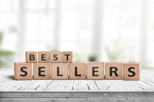 Best sellers sign on a wooden desk