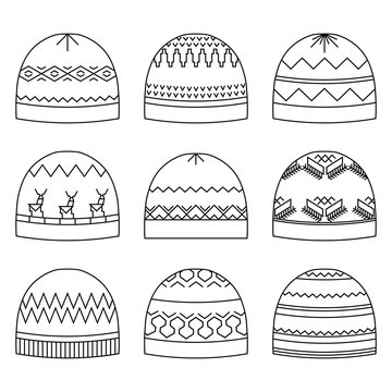 Winter headwear icons set. Outline style hats with geometrical pattern. Isolated design elements. Vector illustration.
