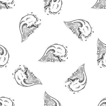 Hand Drawn seamless pattern ocean wave doodle. Sketch style icon. Isolated on white background. Flat design. Vector illustration