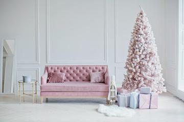 pink sofa and pink Christmas tree
