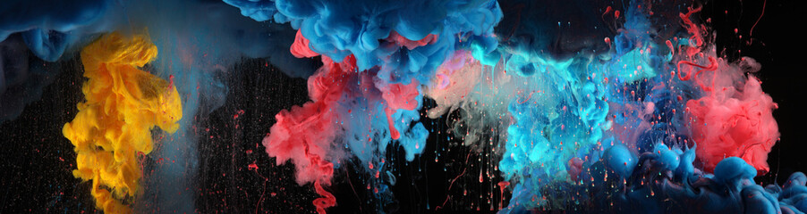 Acrylic blue and red colors in water. Ink blot. Abstract black background. Wall mural