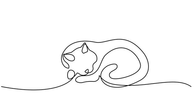 One line drawing. Cat sleeping with curled tail
