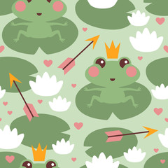 Seamless pattern with cute frog princess in love with crown and arrow vector illustration for kids