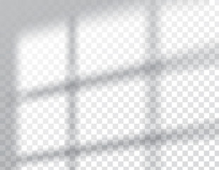 Shadows overlay effects mock up, window frame natural light, vector illustration.