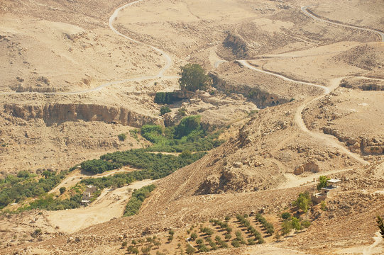 Desert mountain landscape seen from Mount Nebo, Jordan.