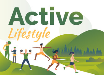Active people training outdoors with text sample. Male and female multiethnic characters harvesting crop and exercising. Flat colorful vector illustration for lifestyle website, leaflet, podcast