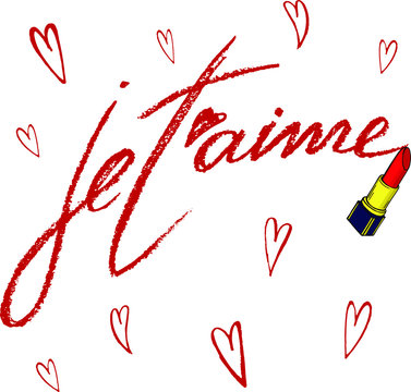 Vector set with hand written phrase je t'aime and hand drawn simple red hearts made by red lipstic.