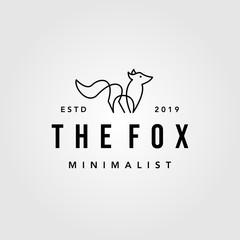 vintage minimalist line art fox logo hipster vector designs