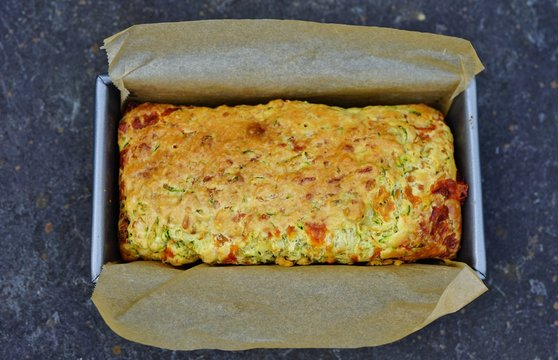 View of a homemade savory zucchini bread with cheese