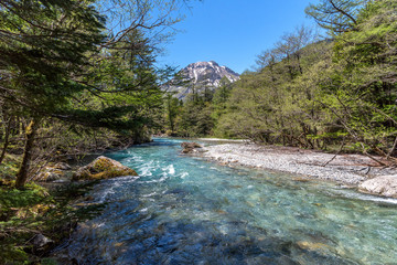 Azusa river and hotaka mountain at Kamikochi in Northern Japan Alps.