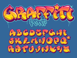 Poster Graffiti Graffiti style font. Orange and yellow colors vector alphabet