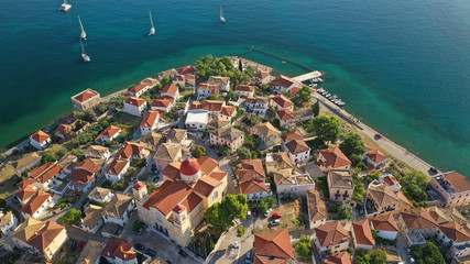 Poster Mexico Aerial drone photo from picturesque seaside fishing village and port of historic Galaxidi, Fokida, Greece