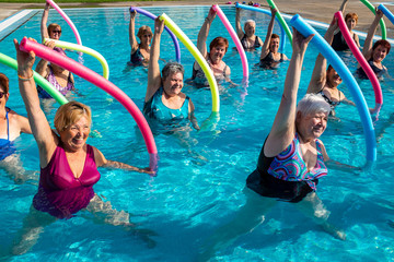 Senior aqua gym class in action.