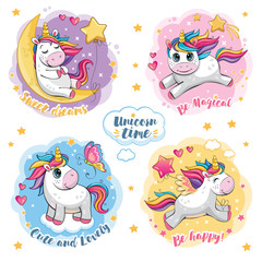 A set of cute funny unicorns. Cartoon and fabulous illustration with a beautiful little pony, a butterfly, a star, a moon and a heart. Stickers with motivating text. Romantic story. Wonderland. Vector