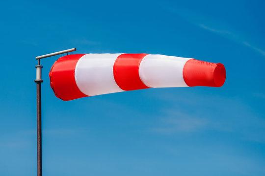 Windsock indicator of wind on runway airport