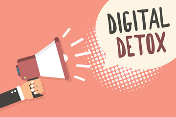 Conceptual hand writing showing Digital Detox. Business photo showcasing Free of Electronic Devices Disconnect to Reconnect Unplugged Man holding megaphone speech bubble pink background halftone