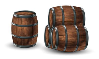 Four wooden barrels for wine or other drinks, studded with iron rings on a white background. 3D vector. High detailed realistic illustration. Fototapete
