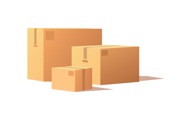 Obraz Carton packs vector delivery icons. Pile of parcel boxes, stacked sealed goods in cardboard. Realistic packages with adhesive tape isolated on white. - fototapety do salonu