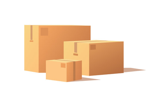 Carton packs vector delivery icons. Pile of parcel boxes, stacked sealed goods in cardboard. Realistic packages with adhesive tape isolated on white.