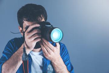 man hand photo camera