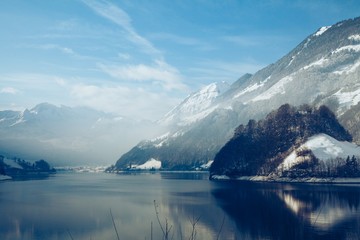 Panoramic view of beautiful white winter  in the Alps