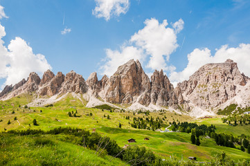 Grödner Joch, Dolomiten, Grosse Cirspitze, Kleine Cirspitze, Naturpark, Passhöhe, Bergbahn, Südtirol, Sommer, Italien