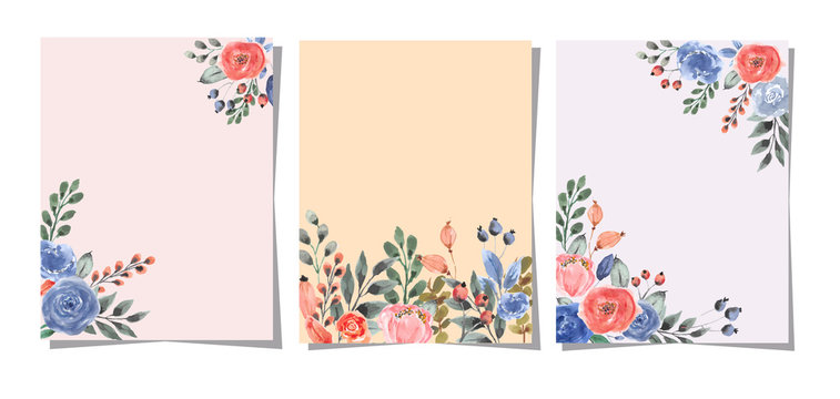 multipurpose card with flower watercolor background