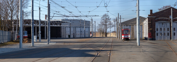 Panoramic view of tram depot station