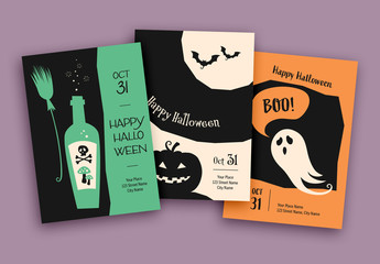 Halloween Cards Layout Set