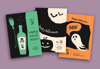 Halloween Cards Layout Set