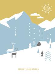Christmas card . Postcard. Stylized Christmas fox, mountains, snowflakes, Christmas trees, landscape, simple minimalistic scandinavian style