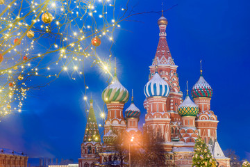 Christmas in Moscow. St. Basil's Cathedral on Red Square in Moscow