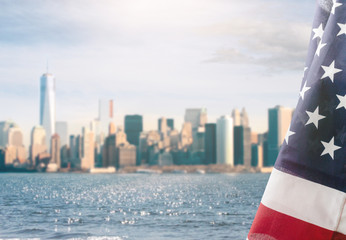 American flag and New York City background Fototapete