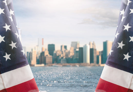 American flag and New York City background