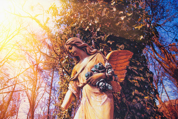 Beautiful antique statue of an angel in the sunlight.