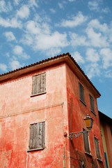An historic building in the seaside town of Caorle in the Veneto region of Italy