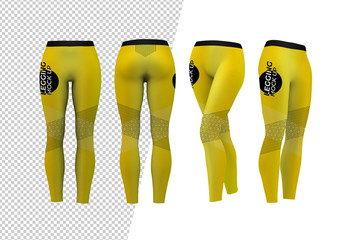 Front, Back, and Sides of Leggings Mockup