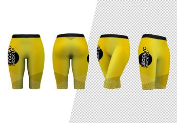 Front, Back, and Sides of Legging Shorts Mockup