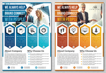 Business Flyer Layout with Blue and Orange Accents