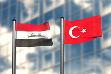 3d render of an flag of Iraq and Turkey, in front of an blurry background, with a steel flagpole