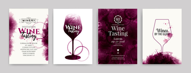 Collection of templates with wine designs. Elegant wine glass illustration. Brochure, poster, invitation card, promotion banner, menu, list, cover. Wine stains backgrounds.