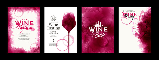 Fototapeta Collection of templates with wine designs. Elegant wine glass illustration. Brochure, poster, invitation card, promotion banner, menu, list, cover. Background red and rose wine stains. obraz