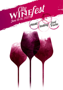 Illustration of three wine glasses with red wine stains, vector. Splashes of wine, liquid, drops, circles of glass. Template for wine designs.