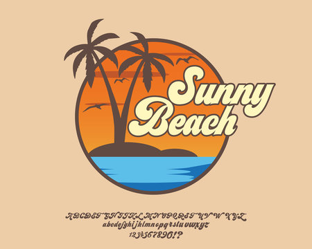 Sunny Beach. Hand made script font. Vacation summer time. Waikiki beach. Vector illustration. Retro typeface and logo. Summer style.