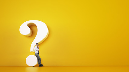 Man leaning on a big white question mark on a yellow background. 3D Rendering