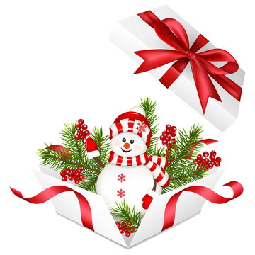 Realistic open white box with snowman and christmas decoration and red bow and ribbon, isolated on white background.